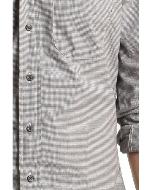 Blue cream grey micro check gingham button down shirt in for Blue gingham button down shirt
