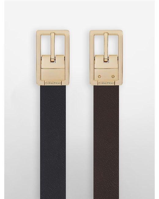 Calvin Klein   Black White Label Valerie Square Buckle Leather Belt   Lyst