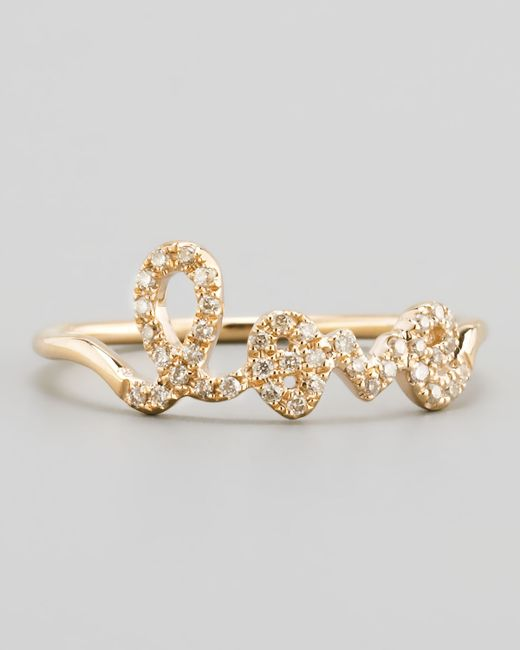 Sydney Evan | Metallic 14k Yellow Gold Diamond Love Script Ring | Lyst