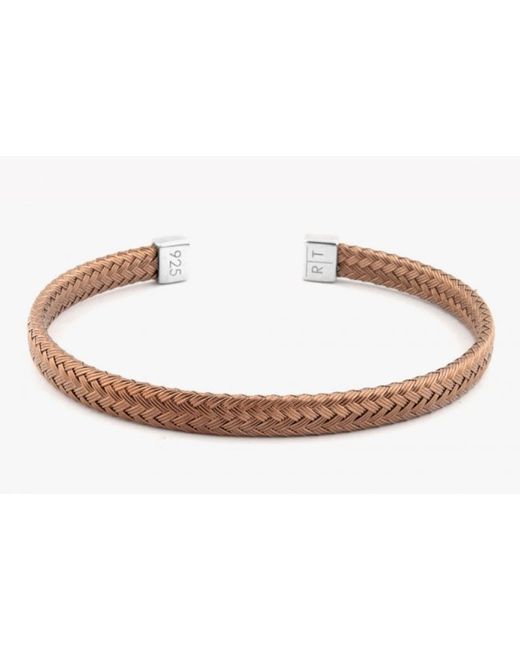 Tateossian | Slim Intrecciato Bracelet In Tightly Weaved Brown Ruthenium Plated Silver With Silver Casp for Men | Lyst