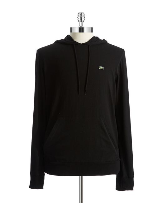 Lacoste | Black Cotton Hooded Tee for Men | Lyst