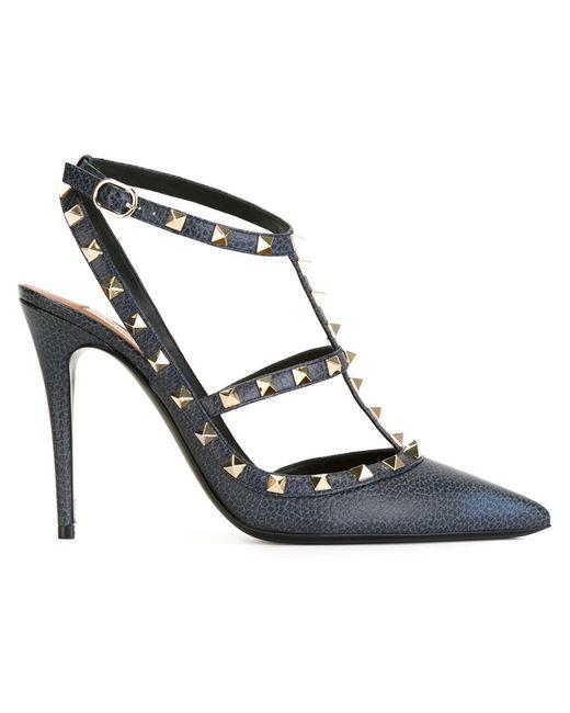 valentino 39 rockstud 39 pumps in black blue lyst. Black Bedroom Furniture Sets. Home Design Ideas