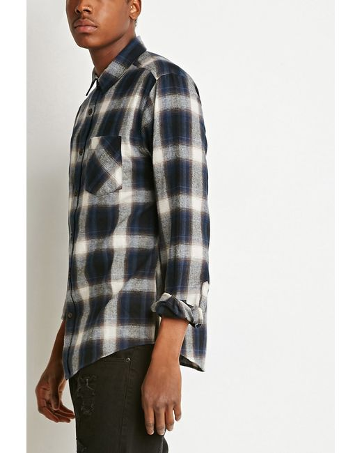 Forever 21 plaid flannel shirt in beige for men blue for Places to buy flannel shirts