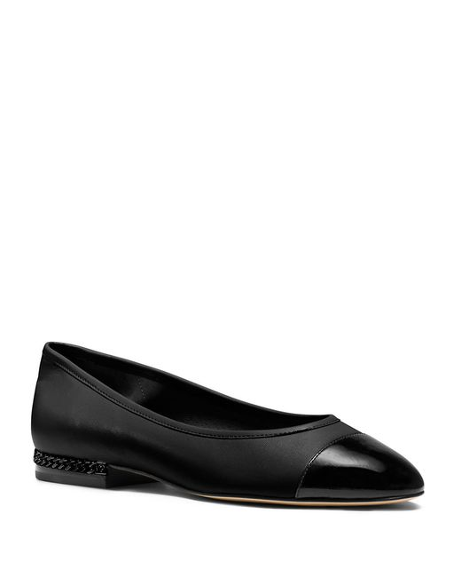 MICHAEL Michael Kors | Black Sabrina Chainlink-accented Leather Flats | Lyst