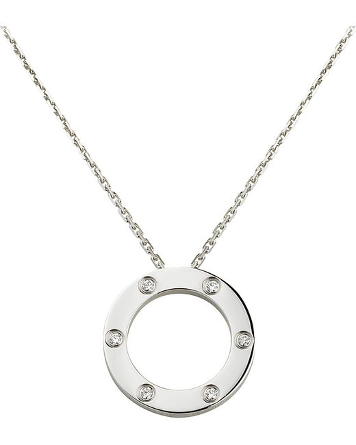 Cartier | Metallic Love 18ct White-gold And Diamond Necklace | Lyst