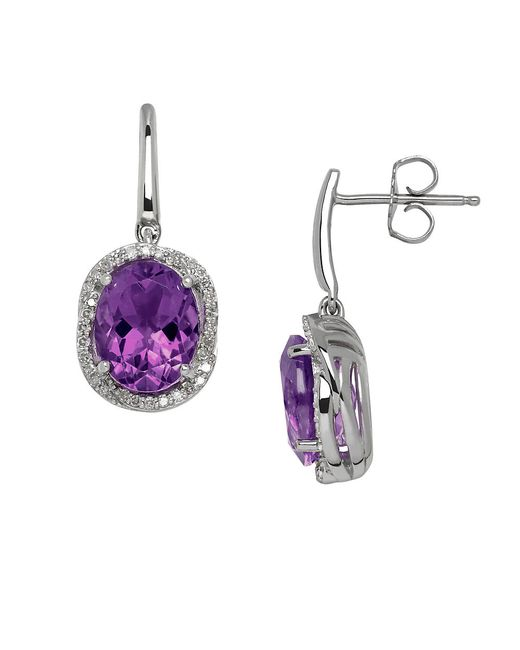 Lord & Taylor | Purple Amethyst, Diamond And Sterling Silver Drop Earrings | Lyst