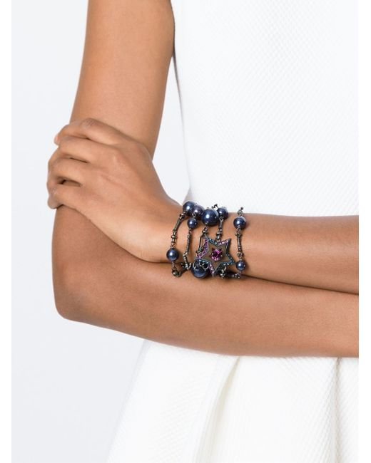 Lanvin | Metallic Embellished Strappy Chain Bracelet | Lyst