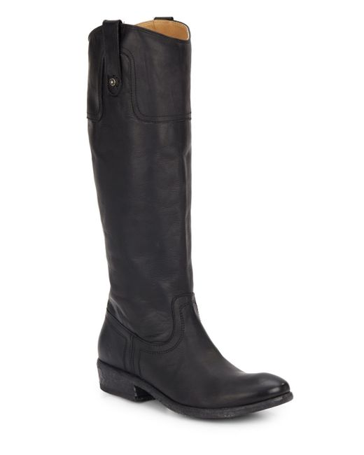 Frye Carson Leather Riding Boots in Black | Lyst