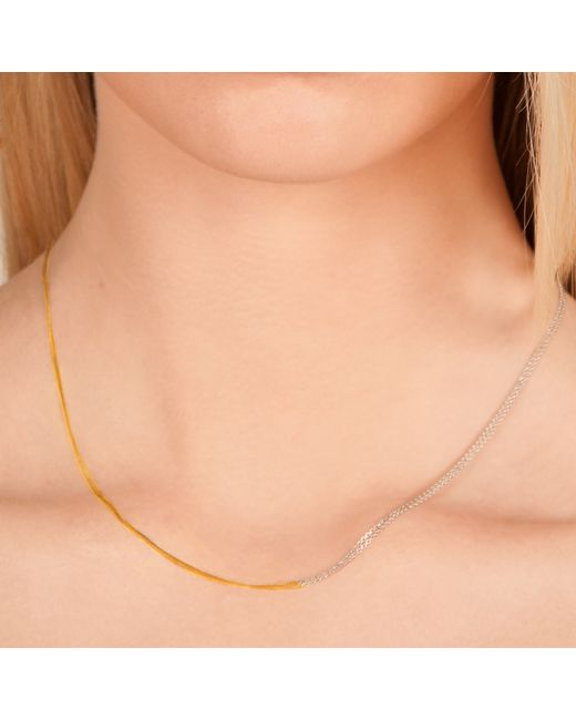 Dutch Basics   Metallic Interlinked Chains Necklace Gold   Lyst