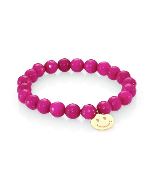 Sydney Evan | Pink Raspberry Jade & 14k Yellow Gold Happy Face Beaded Stretch Bracelet | Lyst