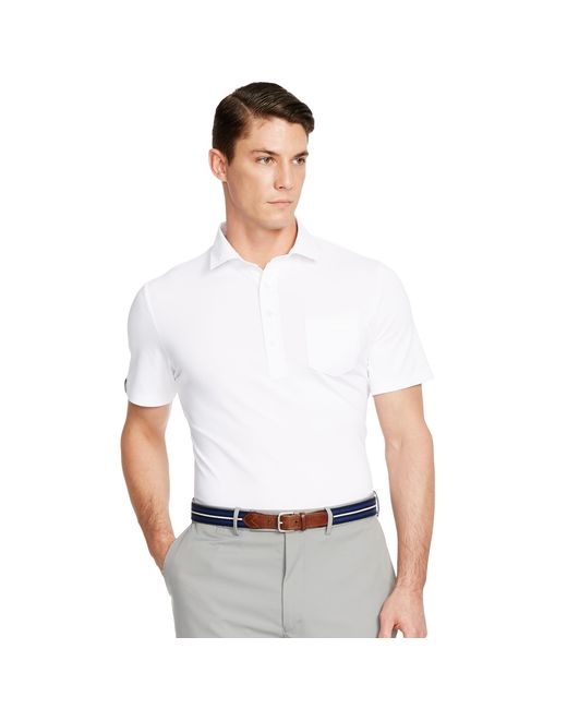Pink pony moisture wicking pocket polo in white for men for Moisture wicking button down shirts