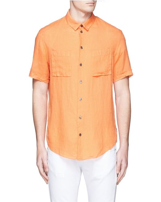 Armani spread collar short sleeve linen shirt in orange for Men s spread collar shirts