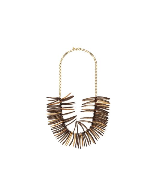 Kenneth Jay Lane | Brown Spikes And Gold Chain Necklace | Lyst