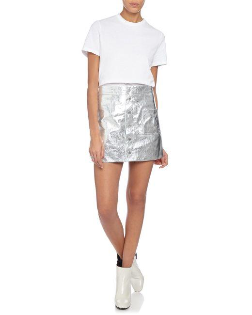 coperni femme silver leather a line mini skirt in silver