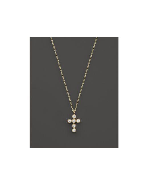 "KC Designs | Metallic Diamond Cross Pendant Necklace In 14k Yellow Gold, 16"" | Lyst"