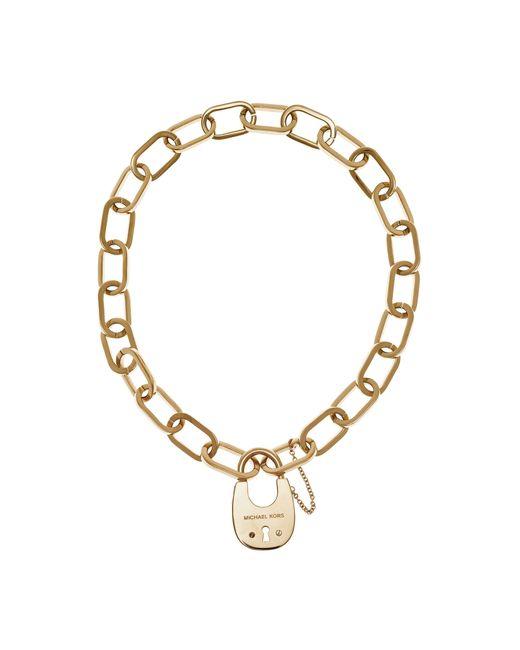 Michael Kors | Metallic Gold-tone Padlock Necklace | Lyst