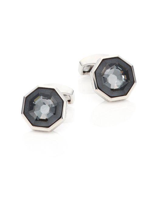Tateossian | Gray Crystal & Sterling Silver Octagon Cuff Links | Lyst