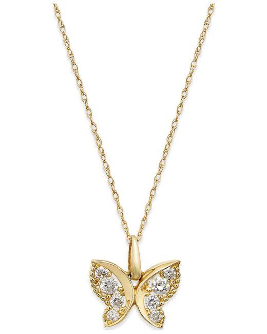 Macy's | Metallic Cubic Zirconia Butterfly Pendant Necklace In 10k Gold | Lyst