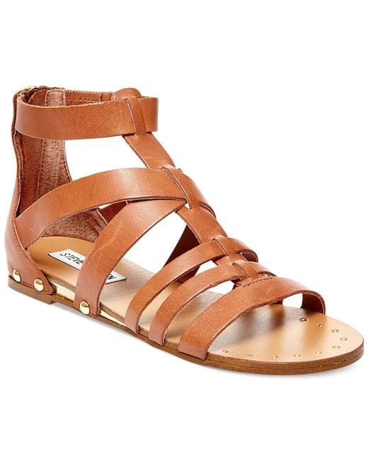 Steve Madden | Brown Drastik Leather Gladiator Sandals | Lyst