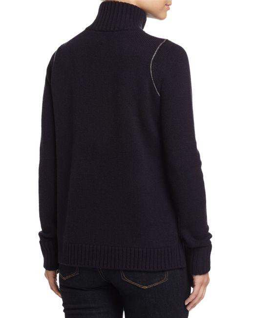 Vince Mock Neck Sweater W Zip Detail In Black Greyblack