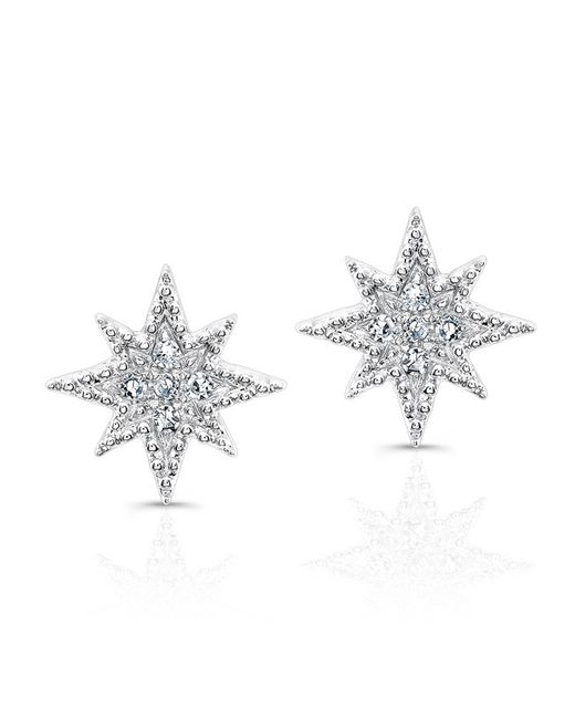 Anne Sisteron | Metallic 14kt White Gold Diamond North Star Stud Earrings | Lyst