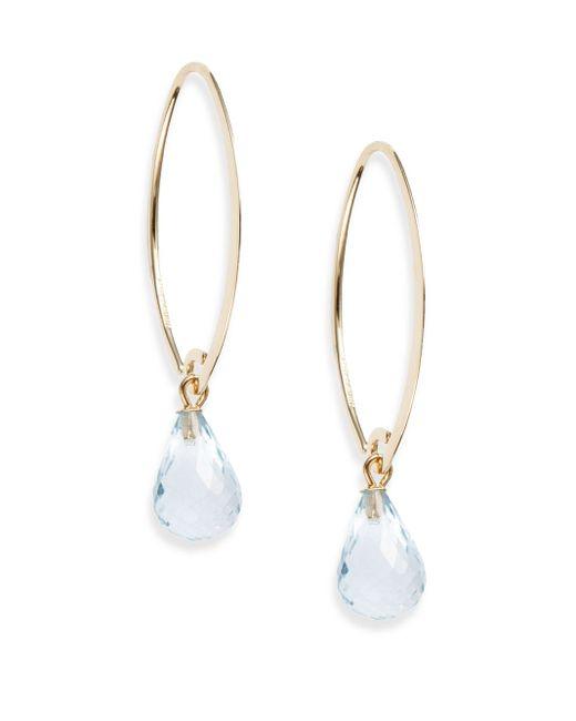 Saks Fifth Avenue | Metallic Blue Topaz & 14k Yellow Gold Teardrop Earrings | Lyst