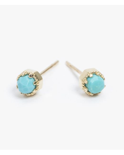 Grace Lee | Blue Petite Crown Bezel Earrings | Lyst