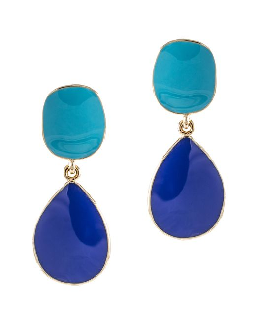Kenneth Jay Lane   Blue Turquoise And Lapis Enamel Drop Pierced Earring   Lyst