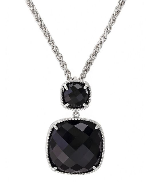 Effy | Black Sterling Silver And Onyx Drop Pendant Necklace | Lyst