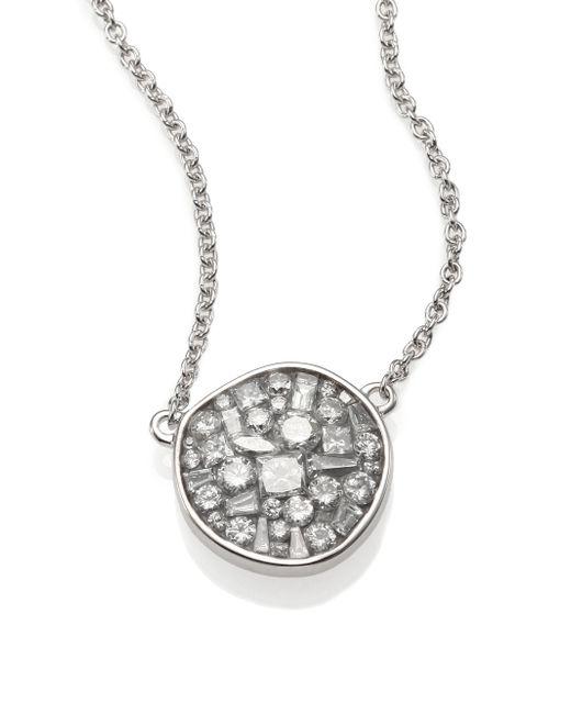 Plevé | Ice Diamond & 18k White Gold Pebble Pendant Necklace | Lyst