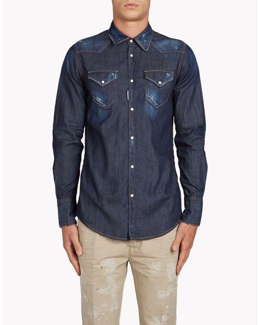 DSquared²   Blue Western Shirt for Men   Lyst