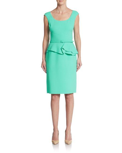 Oscar de la Renta | Green Belted Wool-blend Peplum Dress | Lyst