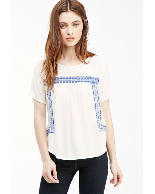 Forever 21 | Blue Embroidered Peasant Top You've Been Added To The Waitlist | Lyst