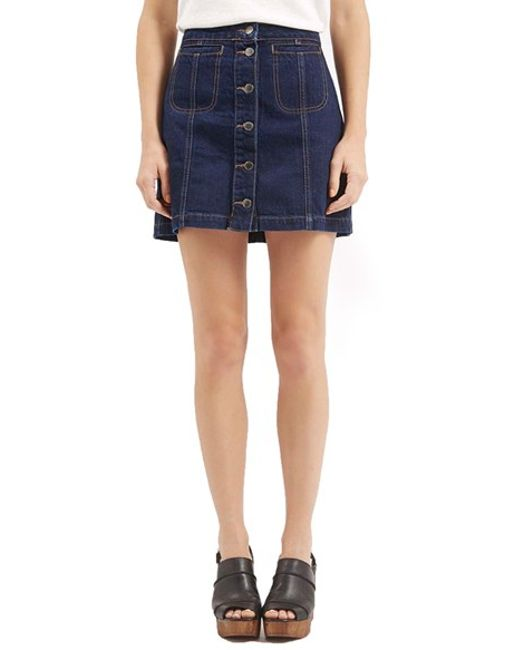 topshop button front denim miniskirt in blue mid denim