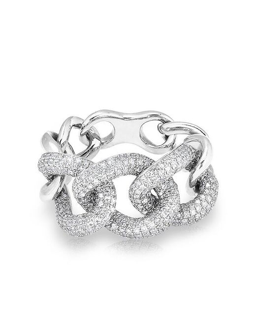 Anne Sisteron | Metallic 14kt White Gold Luxe Diamond Chain Link Ring | Lyst