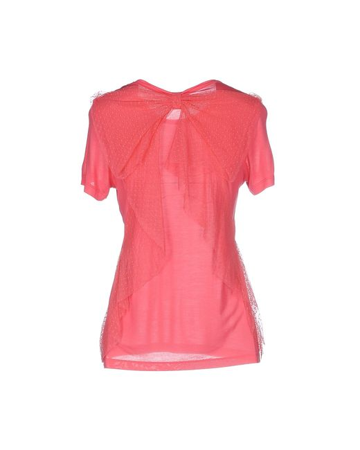 Red valentino t shirt in pink coral lyst for Red valentino t shirt