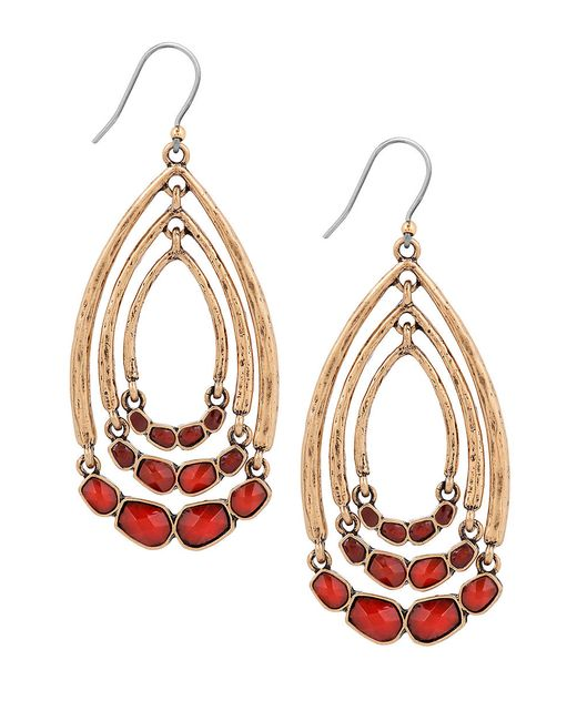 Lucky Brand Red Wishbone Gem Swing Earrings