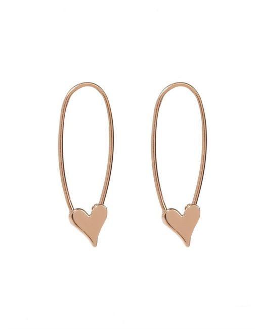 Loren Stewart | Metallic Yellow-Gold Heart Safety Pin Earrings | Lyst