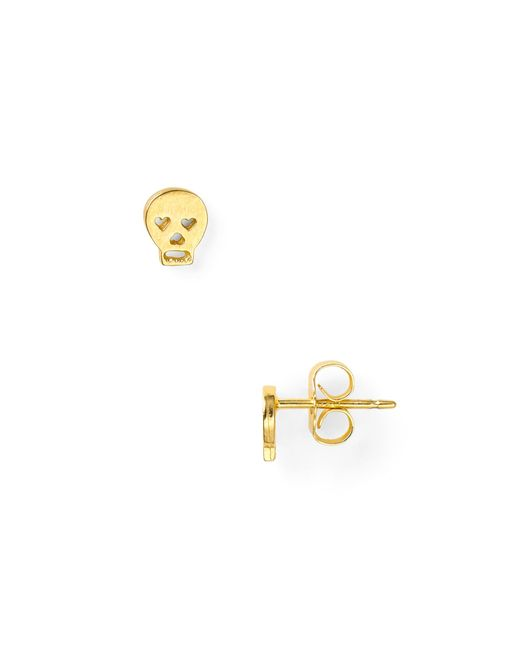 Dogeared | Metallic Little Things Mini Gold Skull Earrings | Lyst