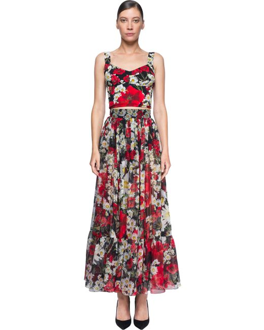 dolce gabbana pleated maxi skirt in floral multicolor