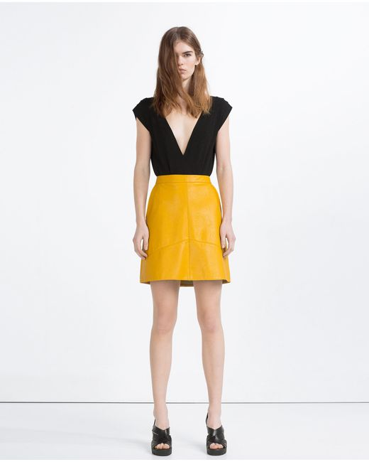 zara a line skirt in orange bright yellow lyst