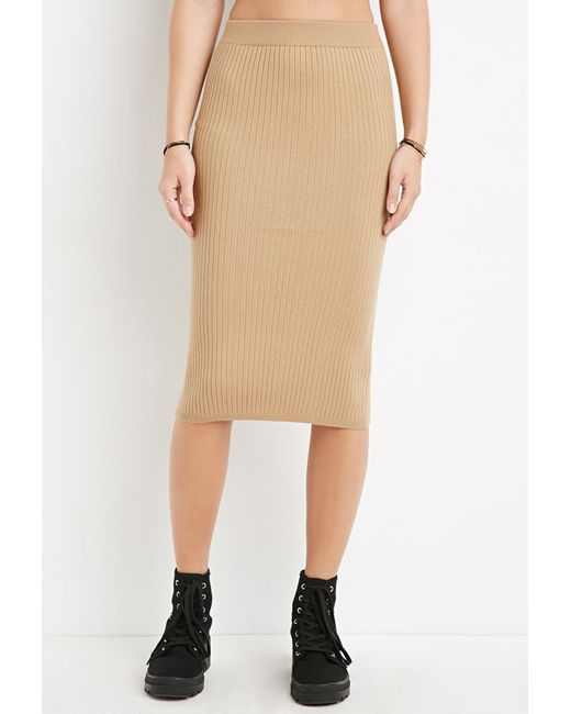 Forever 21 | Natural Ribbed Midi Sweater Skirt | Lyst