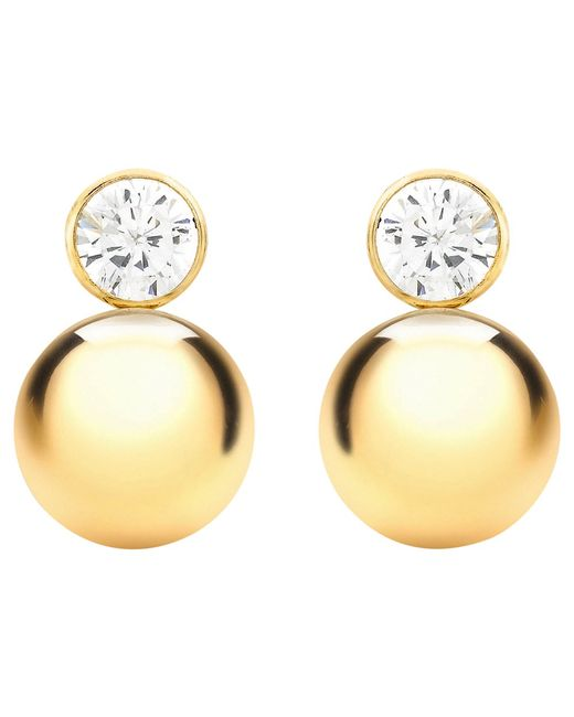 Ib&b | Metallic 9ct Yellow Gold Cubic Zirconia Ball Stud Earrings | Lyst