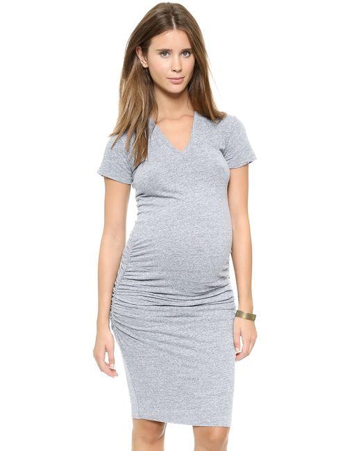 Monrow | Gray Maternity Shirred Tee Dress | Lyst