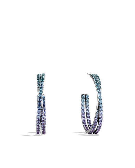David Yurman | Crossover Hoop Earrings With Color Change Garnets In 18k White Gold | Lyst