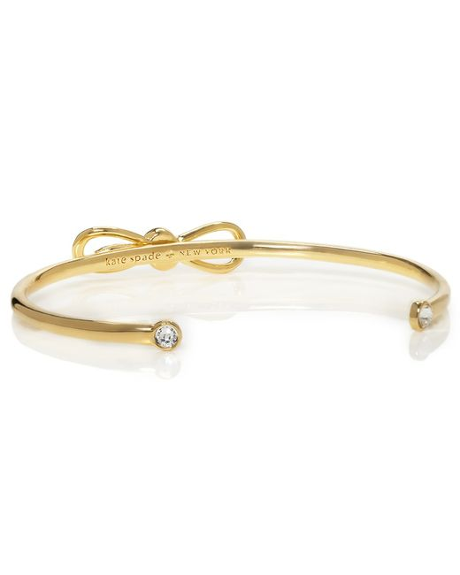 Kate Spade | Metallic Glass Stone Bow Cuff | Lyst