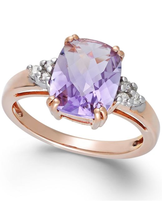 Macy's | Purple Pink Amethyst (2-3/4 Ct. T.w.) And Diamond (1/10 Ct. T.w.) Ring In 14k Rose Gold | Lyst