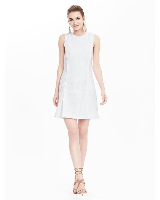 Banana Republic Tweed Fit And Flare Dress In White Lyst