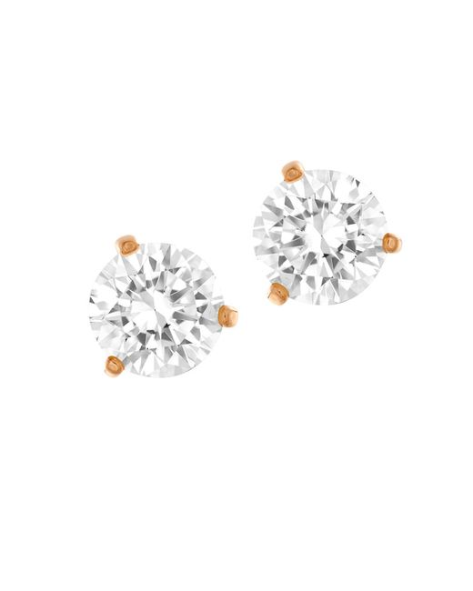 Swarovski | Metallic Solitaire Crystal And Rose Goldtone Stud Earrings | Lyst