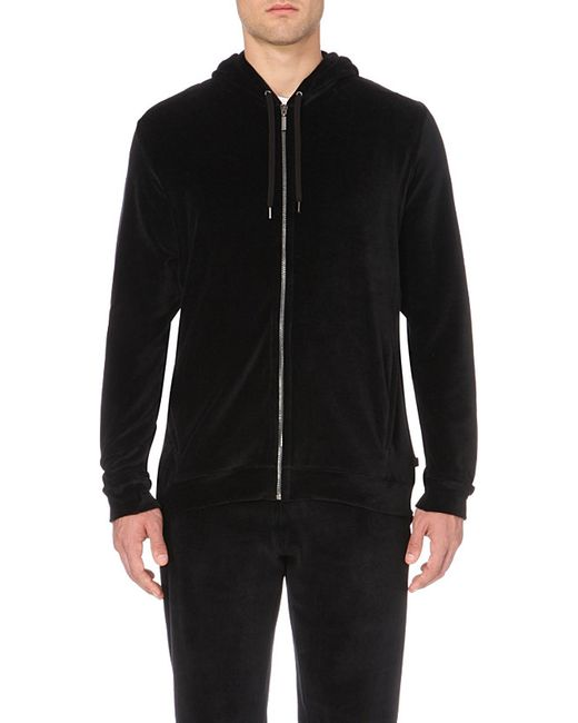 Derek Rose | Black Nico Velour Hoody for Men | Lyst